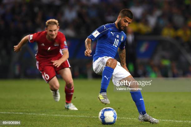 Lorenzo Insigne of Italy in action during the FIFA 2018 World Cup Qualifier between Italy and Liechtenstein at Stadio Friuli on June 11 2017 in Udine