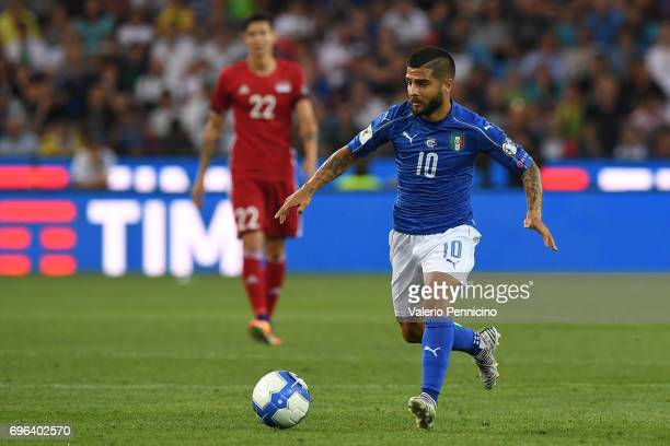 Lorenzo Insigne of Italy in action during the FIFA 2018 World Cup Qualifier between Italy and Liechtenstein at Stadio Friuli on June 11 2017 in Udine...