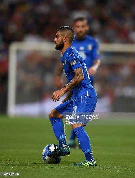 Lorenzo Insigne of Italy in action during the FIFA 2018 World Cup Qualifier between Italy and Israel at Mapei Stadium Citta' del Tricolore on...