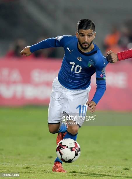 Lorenzo Insigne of Italy in action during the FIFA 2018 World Cup Qualifier between Albania and Italy at Loro Borici Stadium on October 9 2017 in...