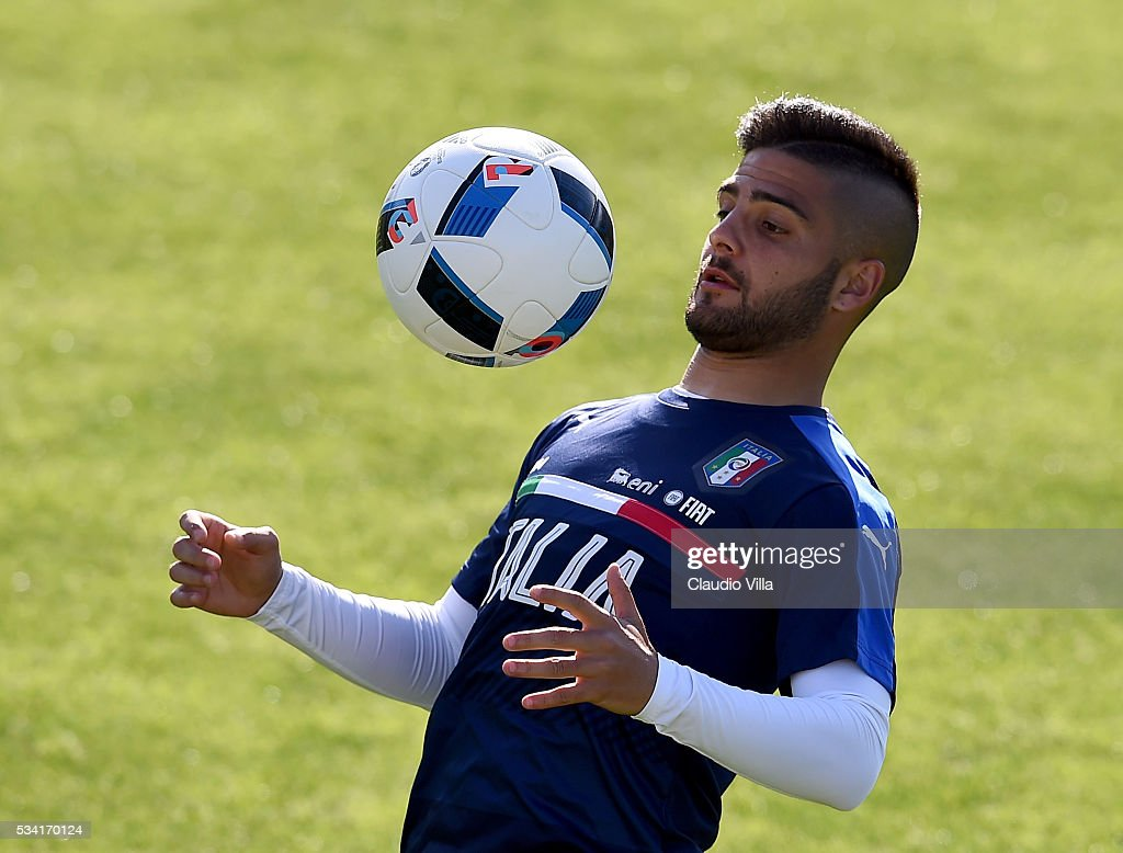 Lorenzo Insigne of Italy in action during the Italy training session at the club's training ground at Coverciano on May 25, 2016 in Florence, Italy.