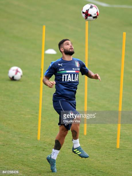 Lorenzo Insigne of Italy in action during the training session at Italy club's training ground at Coverciano on August 31 2017 in Florence Italy