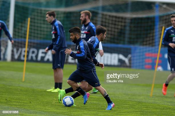 Lorenzo Insigne of Italy in action during the training session at the club's training ground at Coverciano on March 21 2017 in Florence Italy
