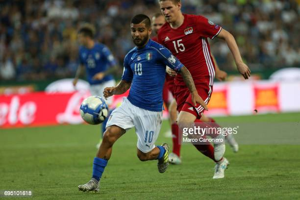 Lorenzo Insigne of Italy in action during the WC 2018 football qualification match between Italy and Liechtenstein Italy went on to win the match 50