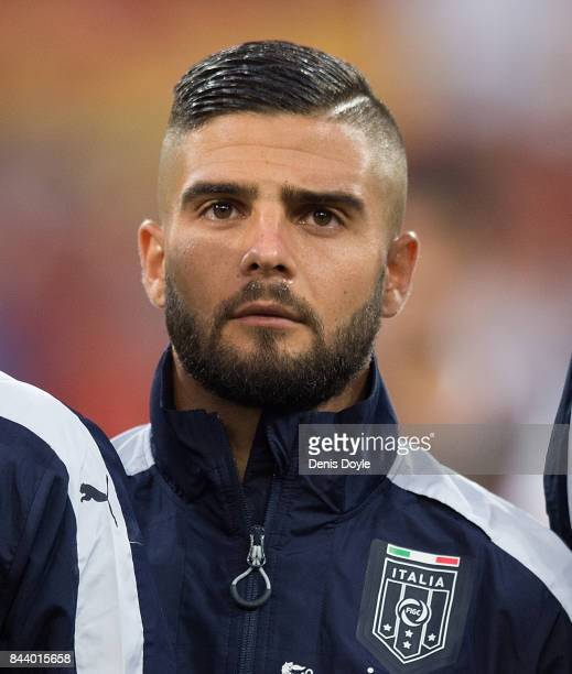 Lorenzo Insigne of Italy linesup for the FIFA 2018 World Cup Qualifier between Spain and Italy at Estadio Santiago Bernabeu on September 2 2017 in...