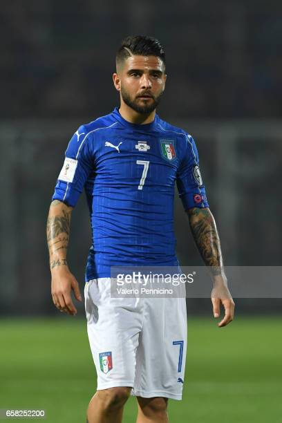Lorenzo Insigne of Italy looks on during the FIFA 2018 World Cup Qualifier between Italy and Albania at Stadio Renzo Barbera on March 24 2017 in...