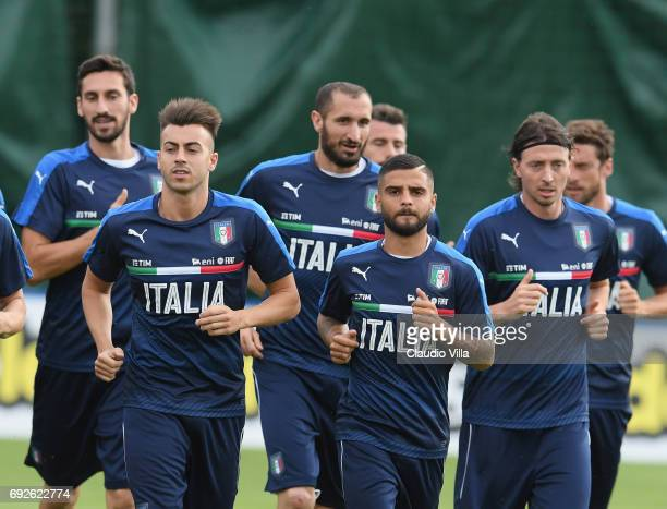 Lorenzo Insigne of Italy looks on during the training session at Coverciano at Coverciano on June 05 2017 in Florence Italy