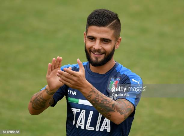 Lorenzo Insigne of Italy looks on during the training session at Italy club's training ground at Coverciano on August 31 2017 in Florence Italy