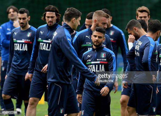 Lorenzo Insigne of Italy looks on during the training session at the club's training ground at Coverciano on March 23 2017 in Florence Italy