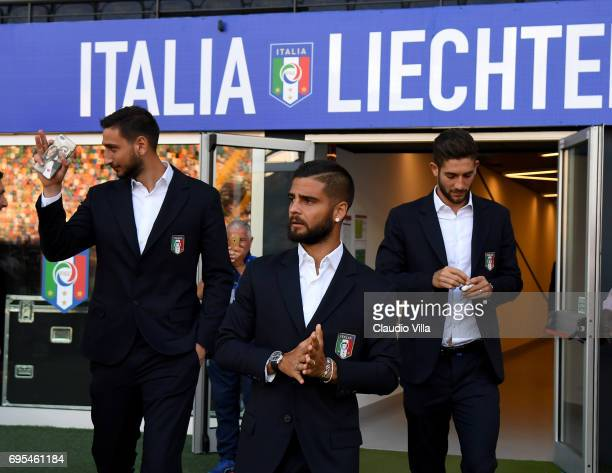 Lorenzo Insigne of Italy looks on prior to the FIFA 2018 World Cup Qualifier between Italy and Liechtenstein at Stadio Friuli on June 11 2017 in...