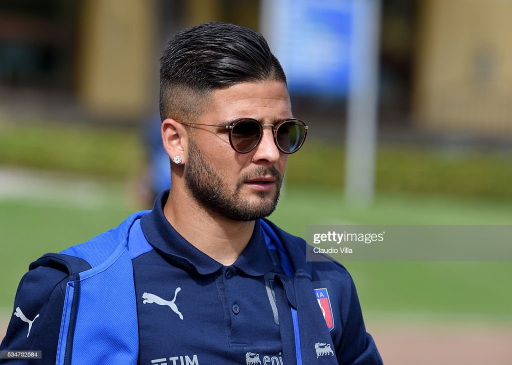 <a gi-track='captionPersonalityLinkClicked' href=/galleries/search?phrase=Lorenzo+Insigne&family=editorial&specificpeople=7486481 ng-click='$event.stopPropagation()'>Lorenzo Insigne</a> of Italy looks on prior to the Italy training session at the club's training ground at Coverciano on May 27, 2016 in Florence, Italy.