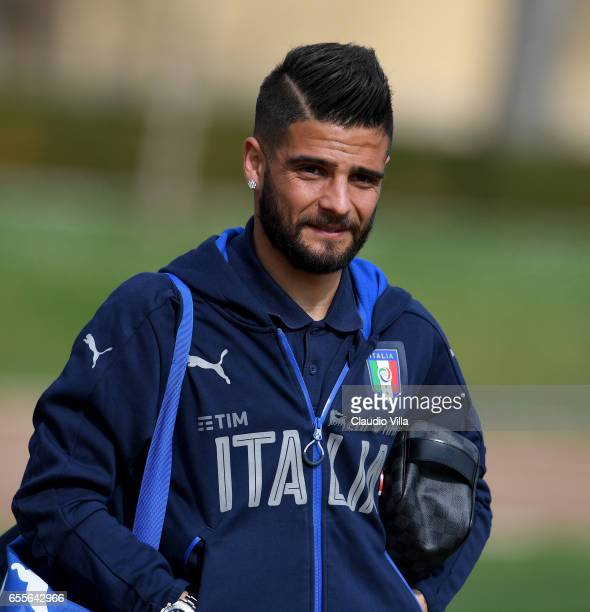 Lorenzo Insigne of Italy looks on prior to the training session at the club's training ground at Coverciano on March 20 2017 in Florence Italy