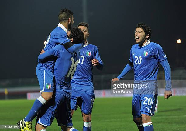 Lorenzo Insigne of Italy U21 celebrates with teammates after scoring his team's second goal during the international friendly match between Italy U21...