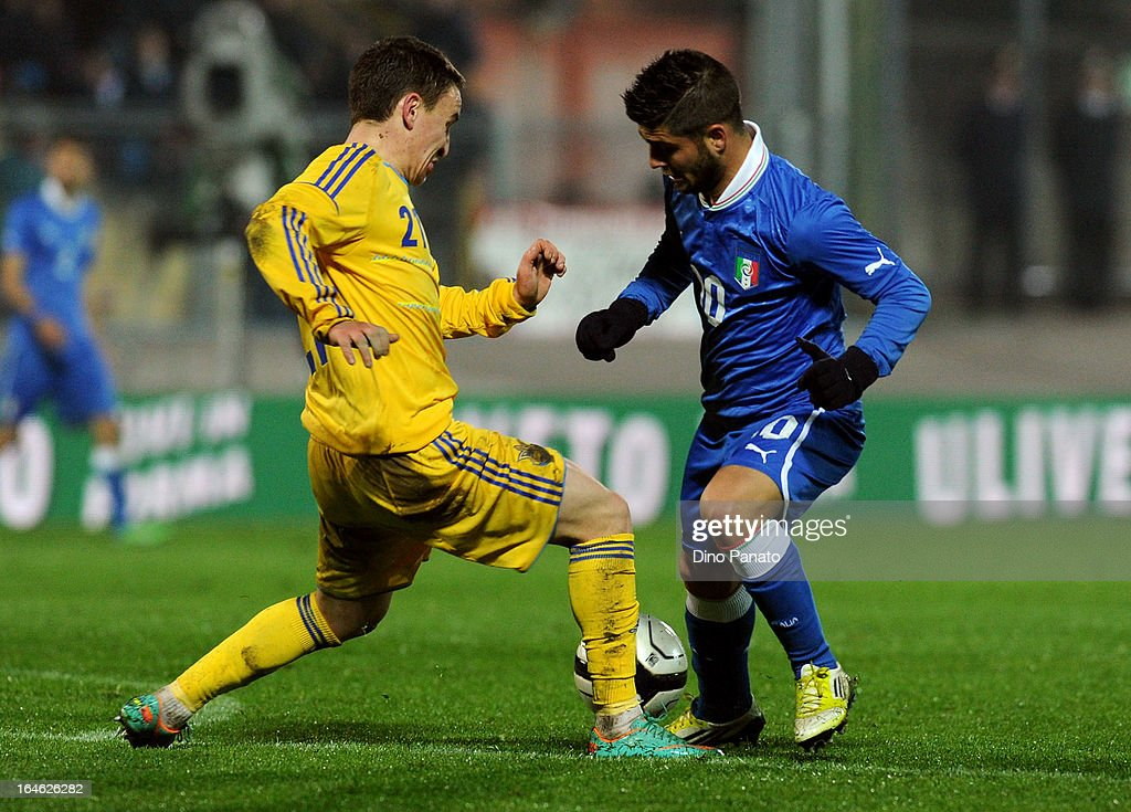 Lorenzo Insigne (R) of Italy U21 competes with Buialskyi of Ukraine U21 during the international friendly match between Italy U21 and Ukraine U21 at Stadio Rino Mercante on March 25, 2013 in Bassano del Grappa, Italy.