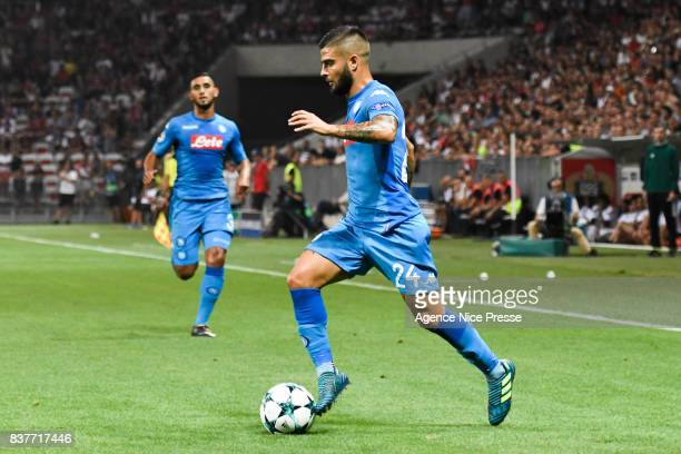 Lorenzo Insigne of Naples during the UEFA Champions League Qualifying PlayOffs round second leg match between OGC Nice and SSC Napoli at Allianz...