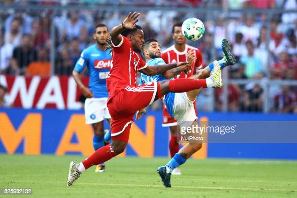 Lorenzo Insigne of Napoli and Renato Sanches of Bayern during the Audi Cup 2017 match between SSC Napoli v FC Bayern Muenchen at Allianz Arena on...