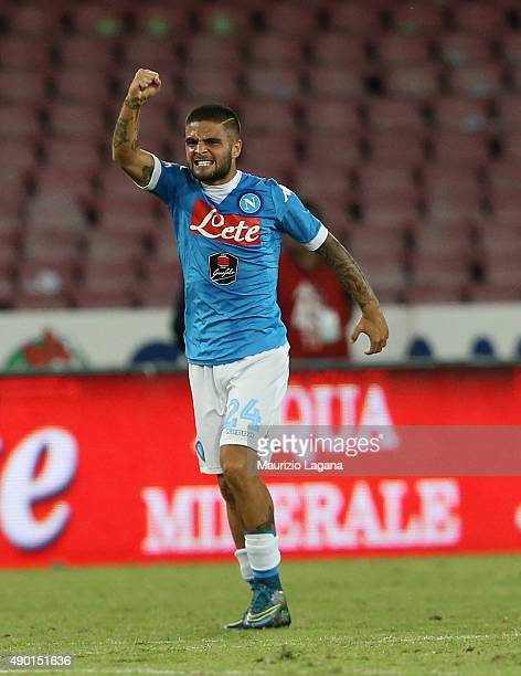 Lorenzo Insigne of Napoli celebrates afetr scoring the opening goal during the Serie A match between SSC Napoli and Juventus FC at Stadio San Paolo...