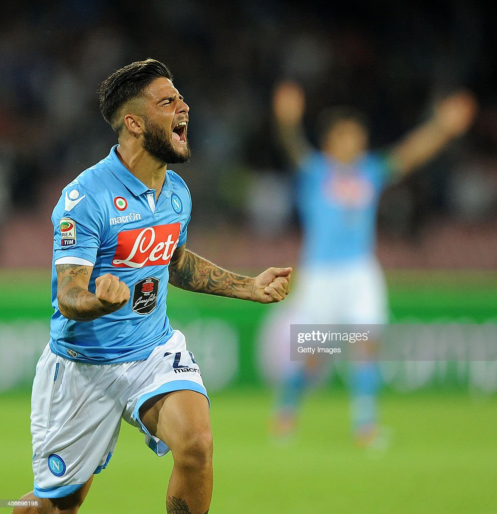 <a gi-track='captionPersonalityLinkClicked' href=/galleries/search?phrase=Lorenzo+Insigne&family=editorial&specificpeople=7486481 ng-click='$event.stopPropagation()'>Lorenzo Insigne</a> of Napoli celebrates after scoring goal 1-1 during the Serie A match between SSC Napoli and Torino at San Paolo Stadium on October 5 , 2014 in Naples, Italy.