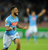 Lorenzo Insigne of Napoli celebrates after scoring goal 11 during the Serie A match between SSC Napoli and Torino at San Paolo Stadium on October 5...