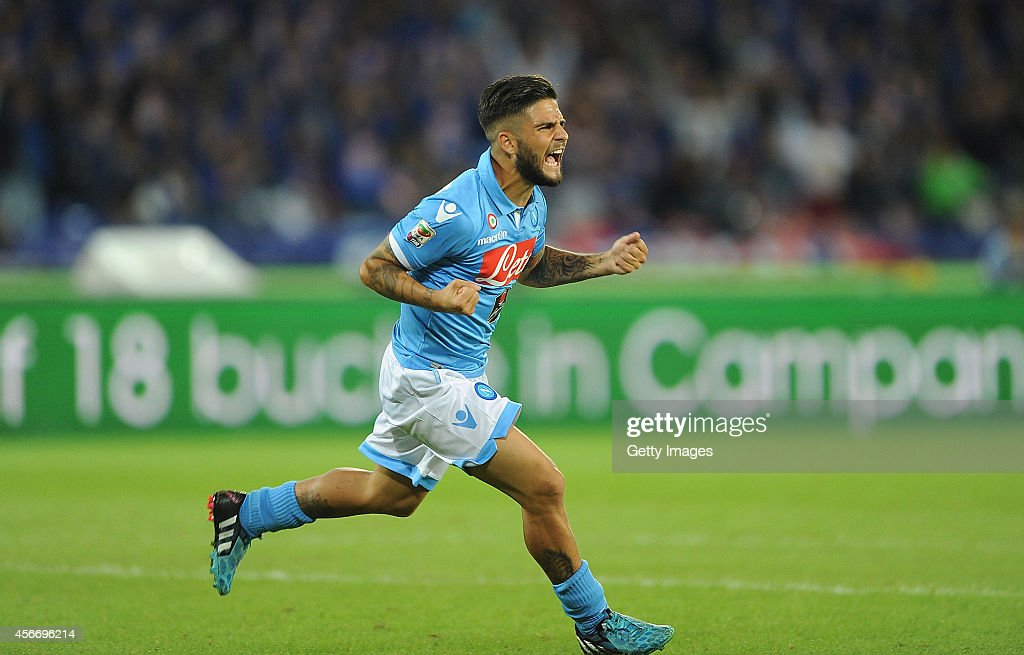 Lorenzo Insigne of Napoli celebrates after scoring goal 1-1 during the Serie A match between SSC Napoli and Torino at San Paolo Stadium on October 5 , 2014 in Naples, Italy.