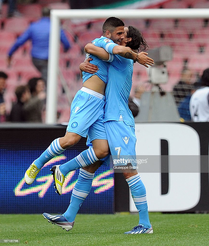 <a gi-track='captionPersonalityLinkClicked' href=/galleries/search?phrase=Lorenzo+Insigne&family=editorial&specificpeople=7486481 ng-click='$event.stopPropagation()'>Lorenzo Insigne</a> (L) of Napoli celebrates after scoring goal 3-2 during the Serie A match between SSC Napoli and Cagliari Calcio at Stadio San Paolo on April 21, 2013 in Naples, Italy.