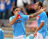 Lorenzo Insigne of Napoli celebrates after scoring his team's third goal during the Serie A match between SSC Napoli v Parma FC at Stadio San Paolo...