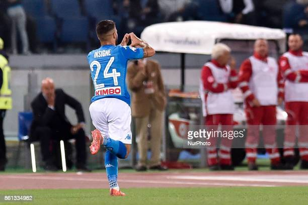 Lorenzo Insigne of Napoli celebrates scoring first goal during the Serie A match between Roma and Napoli at Olympic Stadium Roma Italy on 13 October...