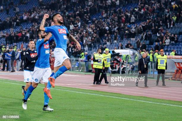 Lorenzo Insigne of Napoli celebrates the victory during the Serie A match between Roma and Napoli at Olympic Stadium Roma Italy on 14 October 2017