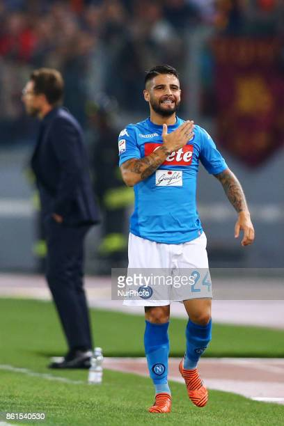 Lorenzo Insigne of Napoli celebrating during the Italian Serie A football match Roma vs Napoli at the Olympic Stadium in Rome on October 14 2017