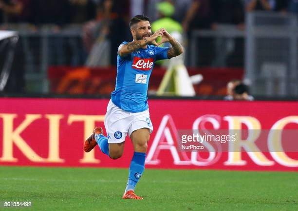 Lorenzo Insigne of Napoli celebration after the goal of 01 scored during the Italian Serie A football match AS Roma vs Napoli at the Olympic Stadium...