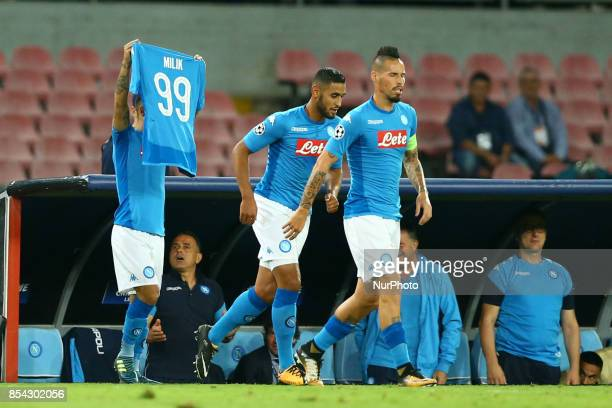 Lorenzo Insigne of Napoli dedicates the goal scored to the teammate Arek Milik injuredduring the UEFA Champion's League Group F football match Napoli...
