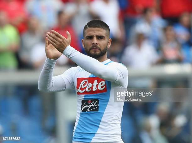 Lorenzo Insigne of Napoli during the Serie A match between US Sassuolo and SSC Napoli at Mapei Stadium Citta' del Tricolore on April 23 2017 in...