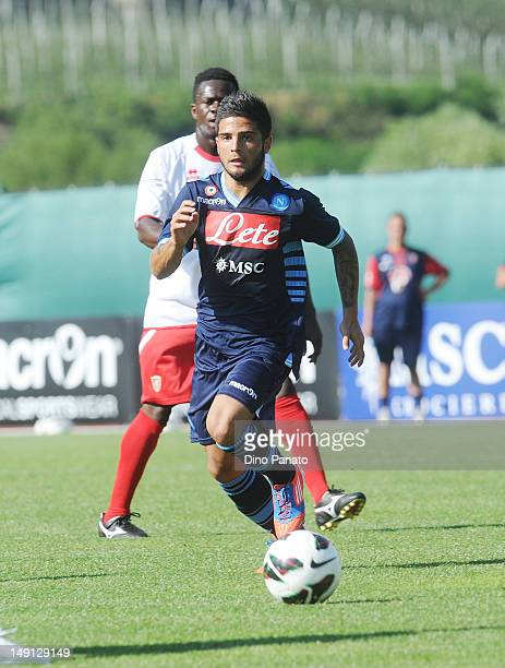 Lorenzo Insigne of Napoli in action during the preseason friendly match between SSC Napoli and US Grosseto on July 23 2012 in Dimaro near Trento Italy