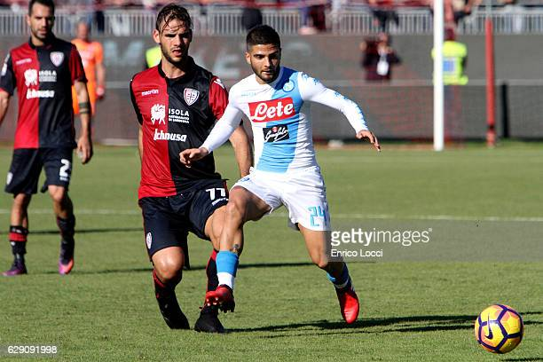 Lorenzo Insigne of Napoli in action during the Serie A match between Cagliari Calcio and SSC Napoli at Stadio Sant'Elia on December 11 2016 in...