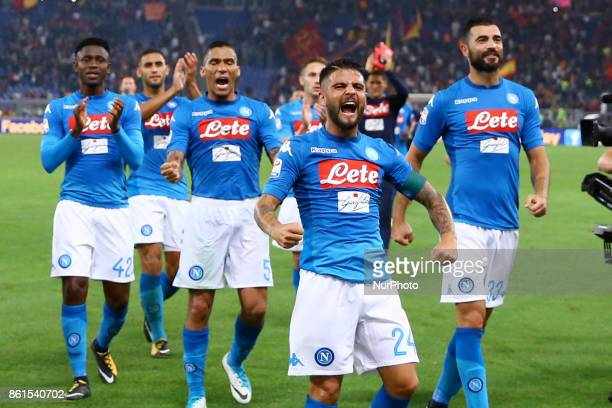 Lorenzo Insigne of Napoli leading the team celebration during the Italian Serie A football match Roma vs Napoli at the Olympic Stadium in Rome on...