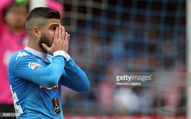 Lorenzo Insigne of Napoli shows his dejection during the Serie A match between SSC Napoli and Carpi FC at Stadio San Paolo on February 7 2016 in...