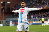 Lorenzo Insigne of SSC Napoli celebrate a goal during the Serie A match between Genoa CFC and SSC Napoli at Stadio Luigi Ferraris on November 11 2012...