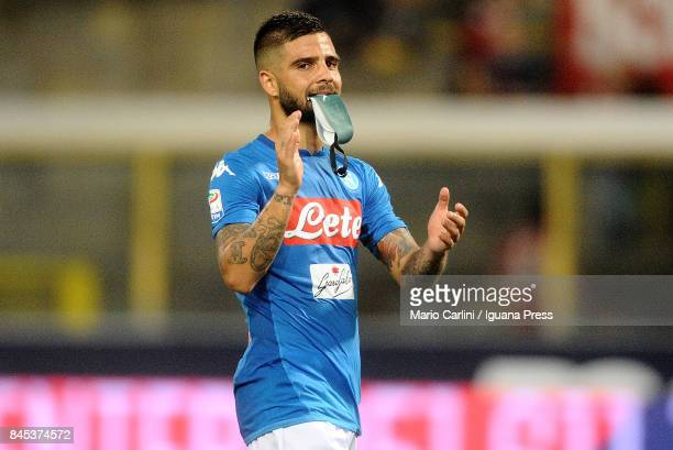 Lorenzo Insigne of SSC Napoli celebrate at the end of the Serie A match between Bolgna FC and SSC Napoli at Stadio Renato Dall'Ara on September 10...