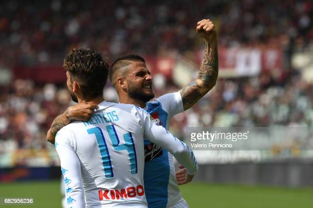 Lorenzo Insigne of SSC Napoli celebrates a goal with team mate Dries Mertens during the Serie A match between FC Torino and SSC Napoli at Stadio...