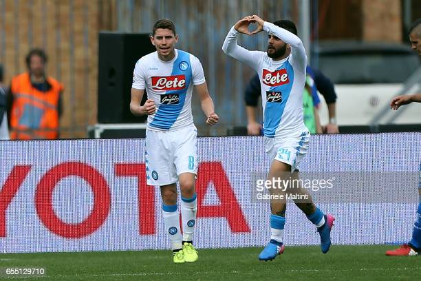 Lorenzo Insigne of SSC Napoli celebrates after scoring a goal during the Serie A match between Empoli FC and SSC Napoli at Stadio Carlo Castellani on...