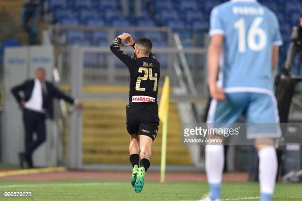 Lorenzo Insigne of SSC Napoli celebrates after scoring a goal during Italian Serie A soccer match between SS Lazio and SSC Napoli at Stadio Olimpico...