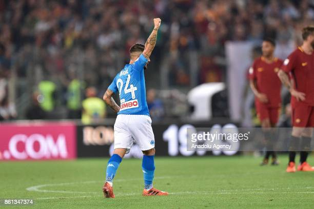 Lorenzo Insigne of SSC Napoli celebrates after scoring a goal during the Serie A soccer match between AS Roma and SSC Napoli at Stadio Olimpico in...