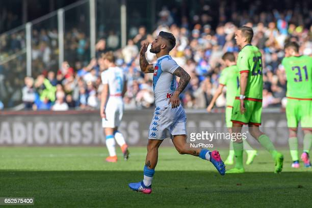Lorenzo Insigne of SSC Napoli celebrates after scoring during the Serie A TIM match between SSC Napoli and FC Crotone at Stadio San Paolo Naples...
