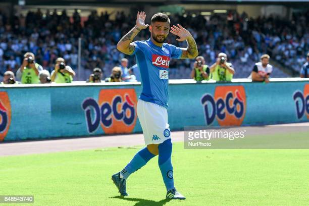 Lorenzo Insigne of SSC Napoli celebrates after scoring during the Serie A TIM match between SSC Napoli and Benevento Calcio at Stadio San Paolo...