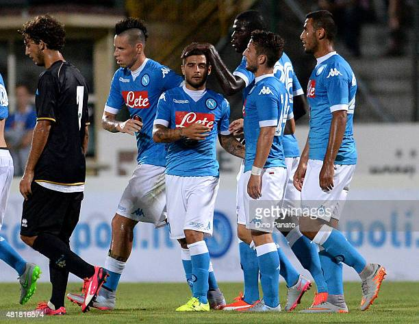 Lorenzo Insigne of SSC Napoli celebrates after scoring his team's third goal during the preseason frienldy match between SSC Napoli and Feralpi Salo...