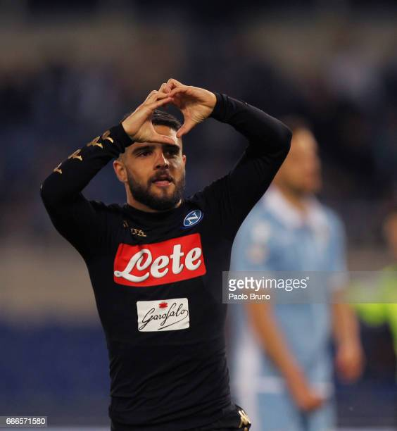 Lorenzo Insigne of SSC Napoli celebrates after scoring the team's second goal during the Serie A match between SS Lazio and SSC Napoli at Stadio...