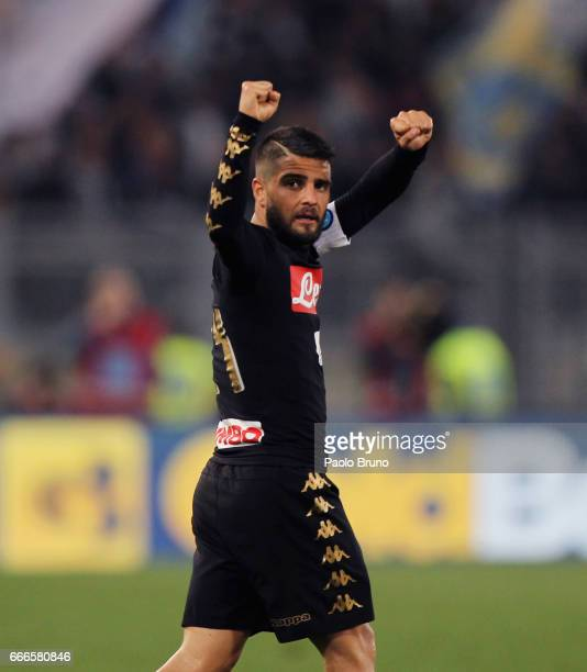 Lorenzo Insigne of SSC Napoli celebrates after scoring the team's third goal during the Serie A match between SS Lazio and SSC Napoli at Stadio...
