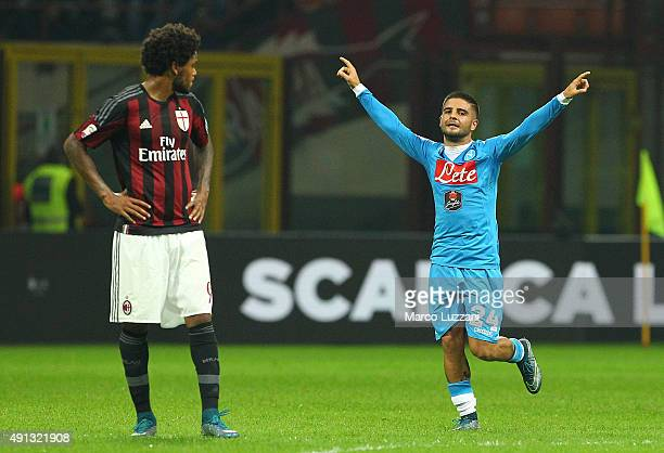 Lorenzo Insigne of SSC Napoli celebrates his second goal during the Serie A match between AC Milan and SSC Napoli at Stadio Giuseppe Meazza on...