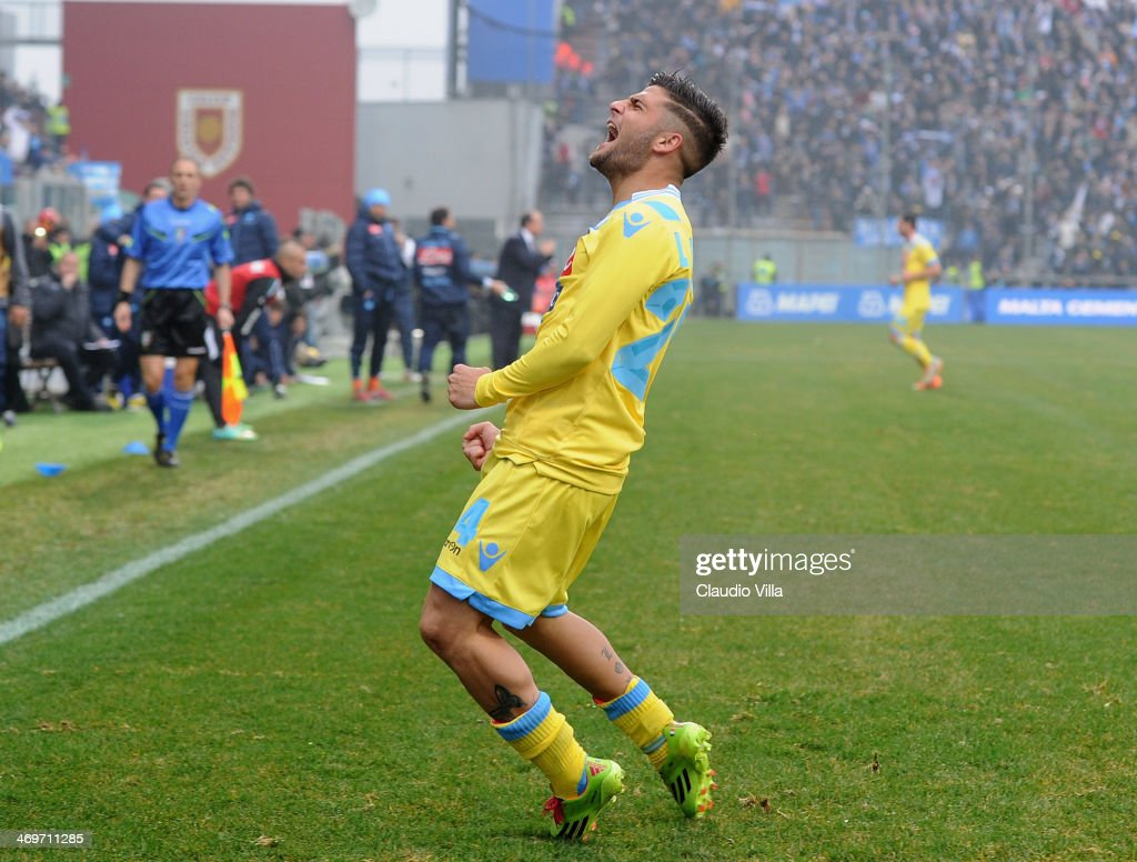 <a gi-track='captionPersonalityLinkClicked' href=/galleries/search?phrase=Lorenzo+Insigne&family=editorial&specificpeople=7486481 ng-click='$event.stopPropagation()'>Lorenzo Insigne</a> of SSC Napoli celebrates scoring the second goal during the Serie A match between US Sassuolo Calcio and SSC Napoli on February 16, 2014 in Reggio nell'Emilia, Italy.