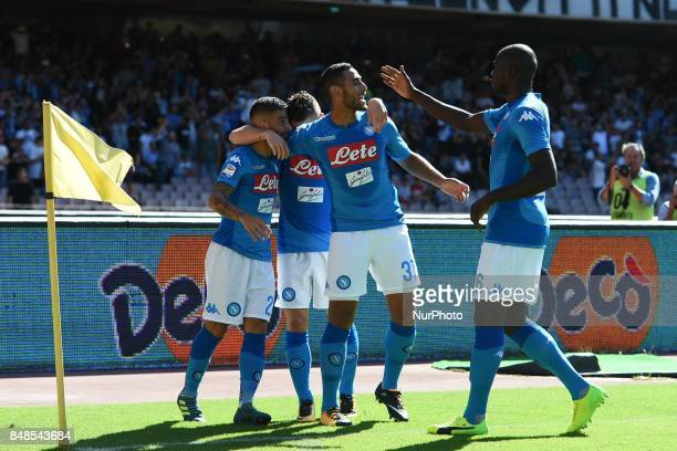 Lorenzo Insigne of SSC Napoli celebrates with team mates during the Serie A TIM match between SSC Napoli and Benevento Calcio at Stadio San Paolo...